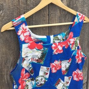 Vintage Dresses - Vintage Shannon Marie Hawaiian Print Summer Dress